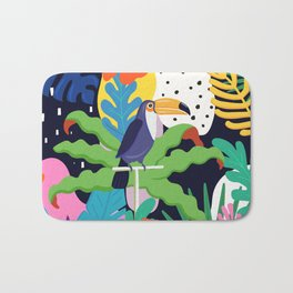 Bold Tropical Jungle Abstraction With Toucan Memphis Style Bath Mat
