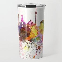 Stuttgart skyline in watercolor background Travel Mug