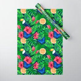 Toucan and tropical garden watercolor Wrapping Paper