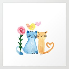 Water painting - cats, bird, heart and rose Art Print