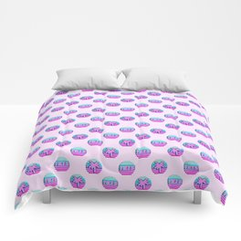 """Vaporwave pattern with palms and words """"yikes"""" #2 Comforters"""
