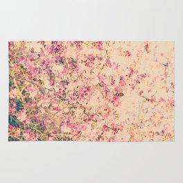 Vintage Pink Crabapple Tree Blossoms in the Sun Rug