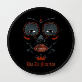 Mexican girl in tattoo style with traditional make-up Wall Clock