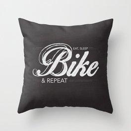 Eat, Sleep, Bike & Repeat Throw Pillow