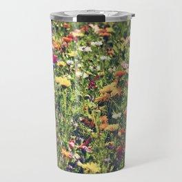 Happy summer meadow vintage style Travel Mug