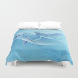 Blue Dolphin With Girl Transforming Into Mermaid Duvet Cover