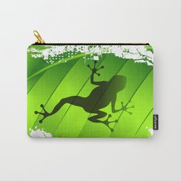 Frog Shape on Green Leaf Carry-All Pouch