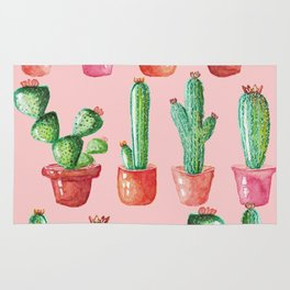 Watercolor Cactus on Pink Rug