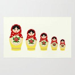 Red russian matryoshka nesting dolls Rug