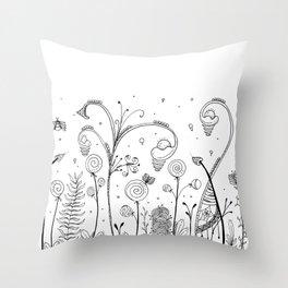 Secret Garden Illustration Throw Pillow