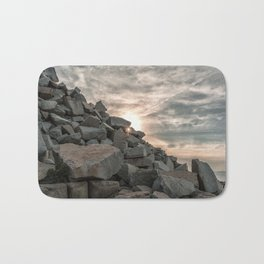 Rocks sky and sea Bath Mat