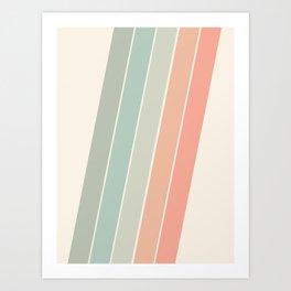 Trippin' - retro 70s socal minimal striped abstract art california surfing vintage Art Print