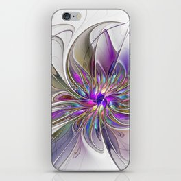 Energetic, Abstract And Colorful Fractal Art Flower iPhone Skin