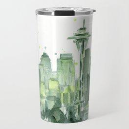 Seattle Watercolor Painting Travel Mug