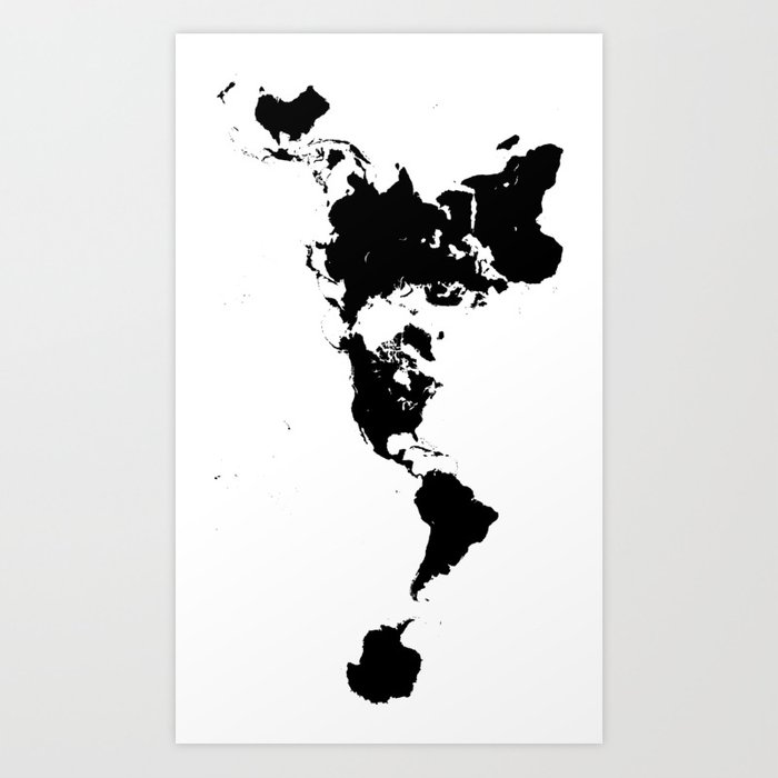 Dymaxion world map fuller projection map minimalist black on dymaxion world map fuller projection map minimalist black on white art print gumiabroncs