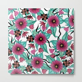 Girly Pink and Teal Watercolor Floral Illustration Metal Print