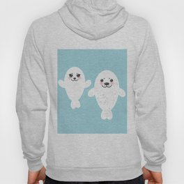 set Funny white fur seal pups, cute winking seals with pink cheeks and big eyes. Kawaii animal Hoody