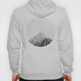 Mid Century Modern Round Circle Photo Grey Minimalist Monochrome Snow Mountain Peak Hoody
