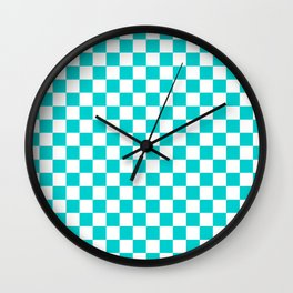 White and Cyan Checkerboard Wall Clock