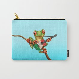 Tree Frog Playing Acoustic Guitar with Flag of Italy Carry-All Pouch