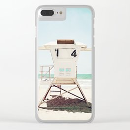 Lifeguard Stand, Beach Photography, San Diego California, Blue Aqua Seashore Ocean Summer Art Clear iPhone Case
