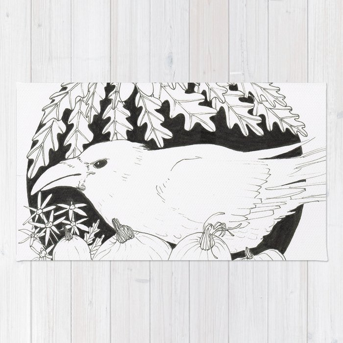 Crow with Pumpkins and Oak Rug