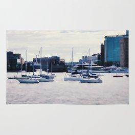 Boats in Boston Harbor Rug