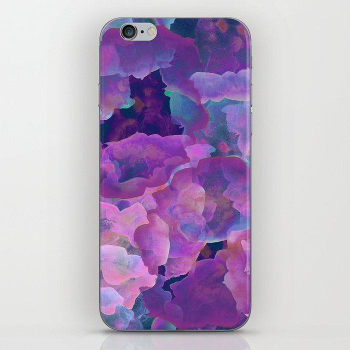 Purple, teal and blue abstract watercolor clouds iPhone Skin
