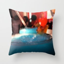 Blue Red Cereza Throw Pillow