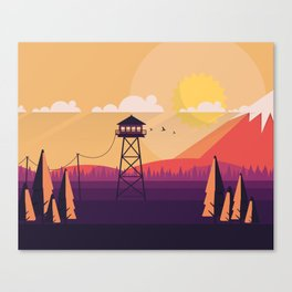 VECTOR ART LANDSCAPE WITH FIRE LOOKOUT TOWER Canvas Print