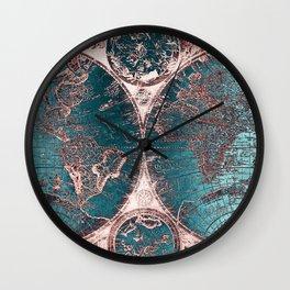 Antique World Map Pink Quartz Teal Blue by Nature Magick Wall Clock
