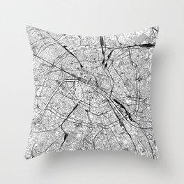 Paris White Map Throw Pillow