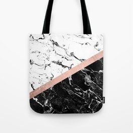 Modern black white marble color block rose gold Tote Bag