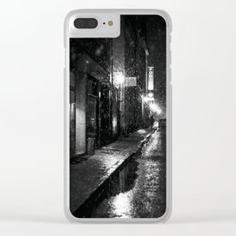 Nightlife district with snowfall № V Clear iPhone Case
