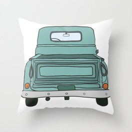 Old Pickup Truck Rear End Throw Pillow
