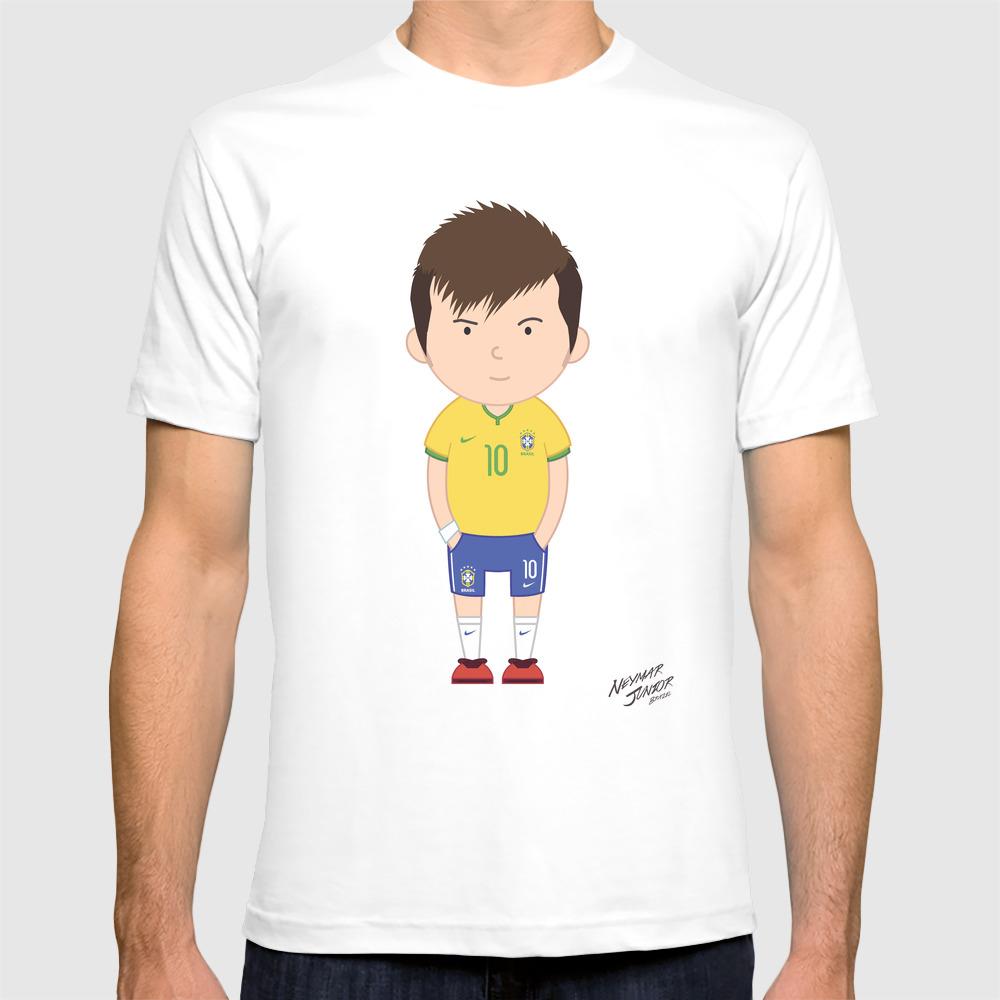 Neymar Junior - Brazil - World Cup 2014 T-shirt by Toonsoccer TSR9018767