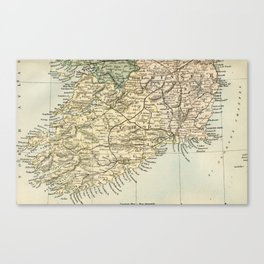 Vintage and Retro Map of Southern Ireland Canvas Print