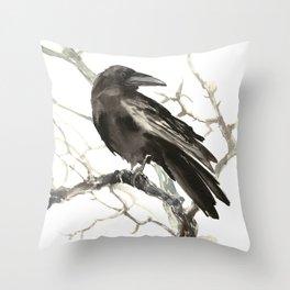 Raven on the Tree Throw Pillow