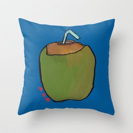 Fresh Coconut - ready to sip! Throw Pillow
