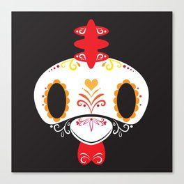 Day of the Dead Rooster Block Canvas Print