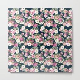 Roselyn Floral - Navy Metal Print