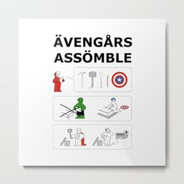 Superheroes Assembling - Colour Metal Print