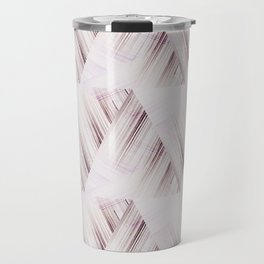 Abstract geometric pattern.Pinkish beige striped triangles . Travel Mug