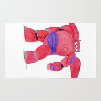 baymax Area & Throw Rugs featuring baymax  by Art_By_Sarah