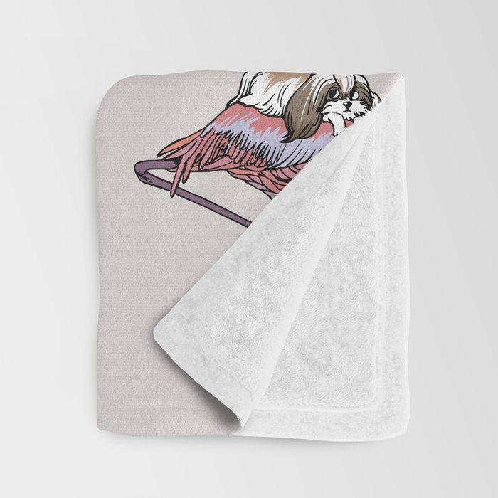 Flamingo and Shih Tzu Throw Blanket