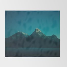 Magical Blue Mountains Star Night Sky Ombre Sunset Throw Blanket