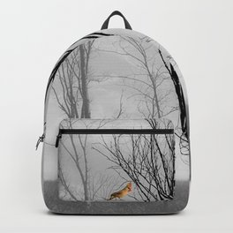 Red birds Cardinals Tree Fog A112 Backpack