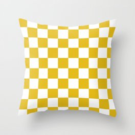 Mustard Yellow Checkers Pattern Throw Pillow