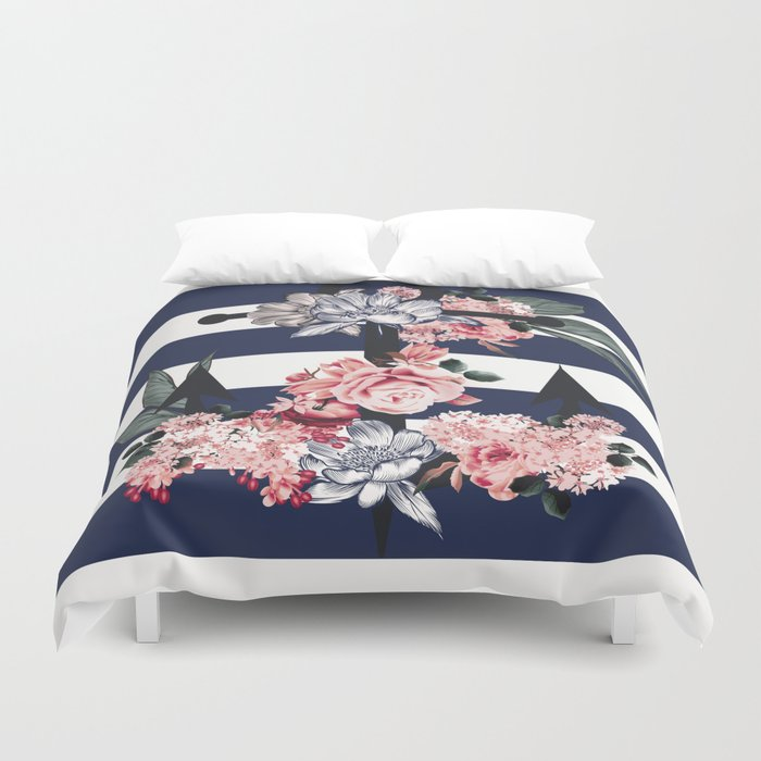 Nautical Vintage Anchor Flowers And Stripes Duvet Cover