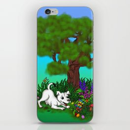 Spring-awakening - Puppy Capo and Butterfly iPhone Skin